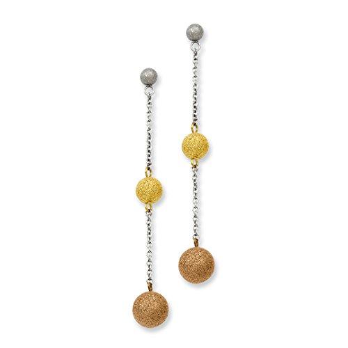 IceCarats Designer Schmuck aus Edelstahl Tri-Color Ip-plattiert Diamond Cut Beitrag baumeln - Diamond Ohrringe Baumeln