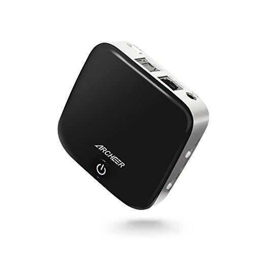 Bluetooth Adapter Transmitter und Emfänger 2 in 1 Bluetooth 4.1(Sender + Receiver) 3.5mm AUX und Digitales TOSLINK- Kabellos aptX Low Latency geringe Verzögerung - für Fernseher Home Auto Stereoanlage