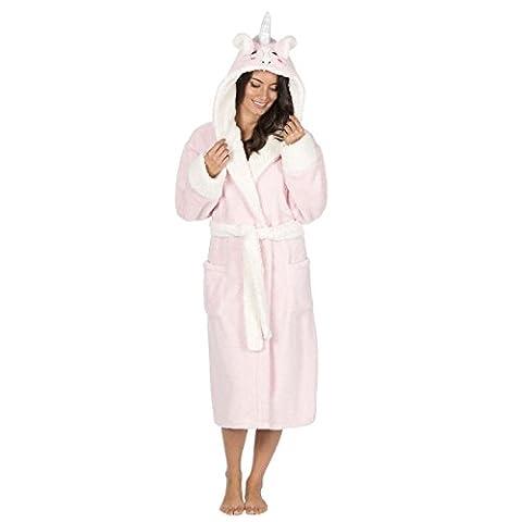 Ladies Animal Hooded Snuggle Fleece Gown, Unicorn Panda Robe, B42, Size 8-22, By Daisy Dreamer®, Unicorn,