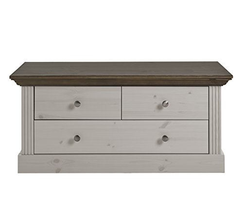 garderobe home affaire Steens Monaco  Sitzbank, 3 Schubladen, 103 x 46 x 42 cm (B/H/T), Kiefer massiv, weiß grau