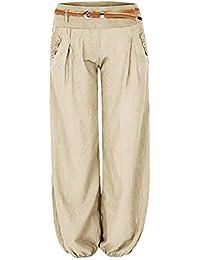 Cindeyar Pantalon Femme Fluide Taille Haute Stretch Harem Bouffant Ceinture  Causal Elastique Button Decoration avec Ceinture fdc79821bc9