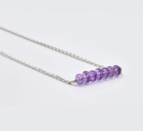 Natürliche Amethyst Perlen Bar Halskette mit Sterling Silber Kette & Befunde Edelstein handgefertigte Schmuck 16