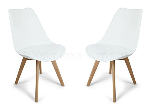 Your Price Furniture.com 2 White Toulouse Eiffel Designer Dining Chairs in Quality Moulded Plastic with Solid Wood Legs