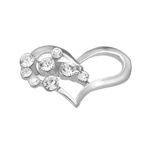 Generic 12pcs Broche Bijoux Strass Forme de Coeur Clip Cristal pour Couple Amant Mariage Argent