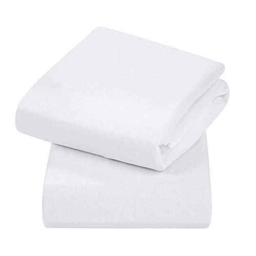 Clevamama Spannbettlaken für Babybett, Baumwolle, 44 x 90 cm, Weiß, 2 Stück
