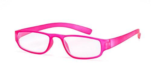 Extrem leichte Filtral Lesebrille in der Trendfarbe Pink | Moderne eckige Lesehilfe für Damen & Herren | Erhältlich in grün, orange, schwarz, braun, weiß, türkis, blau & lila | +1,50 dpt F4520363