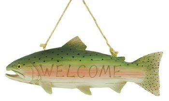 Trout Fish Welcome Sign, 10.5inch (Carved Wood Look) by Decorative Rustic Wall Hanging Plaque And Sign