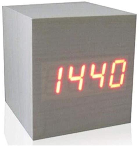JIAHANLI Retro Sveglia Termometro Digitale Desktop da Tavolo a LED Woody USB Data Display Multicolor Sound Control Woody Square