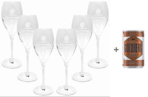 Taittinger Champagner Sekt Glas Gläser-Set - 6x Gläser 10cl geeicht + Goldberg Intense Ginger 0,15l EINWEG