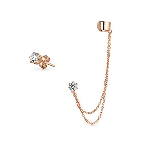 Plain Knorpel Ohrläppchen Doppelte Kette Ohrstulpe Ohrringe Schlingen CZ Stud Ohrring Rose Vergoldet Sterling Silber
