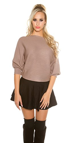 3/4-Ärmel-gerippter Pullover (Koucla Damen kurzer Feinstrick Pullover Sweater mit 3/4 langen Fledermaus Ärmeln | Ripp Pulli Cape Poncho | cappuccino 34 36 38)