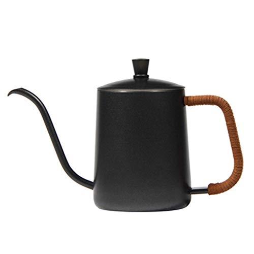 KFH Isolierkanne Langer Mund Feiner Mund Kaffeekanne Edelstahl Filterkanne Wasserkontrolle Transparent 600Ml, schwarz, a
