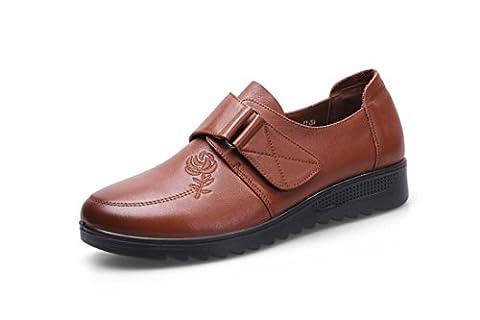 Dames Flats Single Shoes New Leisure Loafer Confort Pompes en cuir véritable Non-slip Soft Bottom Black Fall Spring Party Travail , Brown , EUR 39/ UK