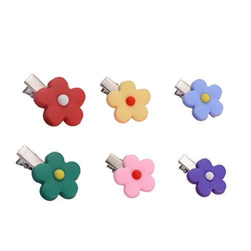 Lurrose Haarspangen aus Polymerton, Blume, 6 Stück -