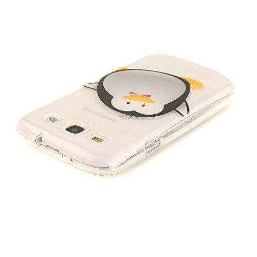 Samsung Galaxy S3 / I9300 hülle,MCHSHOP Ultra Slim Skin Gel TPU hülle weiche Silicone Silikon Schutzhülle Case für Samsung Galaxy S3 / I9300 (4,8 Zoll) - 1 Kostenlose Stylus (Schwarze Mandala Blume) Cartoon-Pinguin