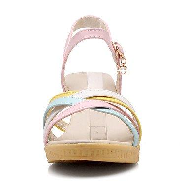 LvYuan Sandali-Tempo libero Formale Casual-Comoda Suole leggere-Zeppa-Finta pelle-Blu Rosa Bianco Pink