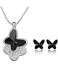 Yellow Chimes Moxie Collection ? Charming Butterfly ? 18K White Gold Plated Crystal Pendant Set For Women And...