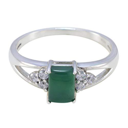Chandra Edelsteine (natürlicher edelstein faincy cabochon grüne onyx-ringe - 925 sterling silber grüner grüner onyx natürlicher edelstein-ring - kunst & collectibles geschenk für freundschaftstagring)