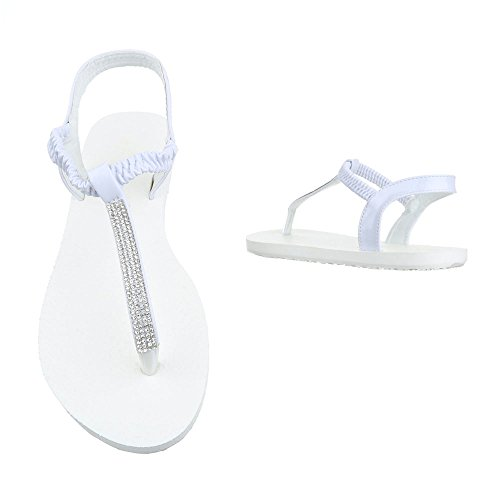 Zehentrenner Damenschuhe Peep-Toe Zehentrenner Ital-Design Sandalen / Sandaletten Weiß