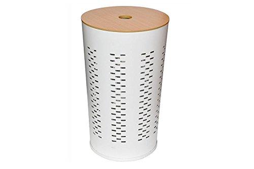Opportunity 48FH14600880 Wäschekorb mit Deckel, Metall/Holz, 58,5 cm, Weiß