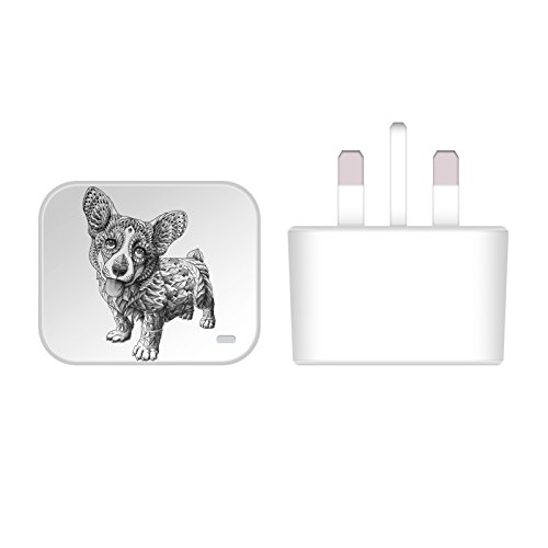 Image of Official Bioworkz Corgi Canine 2 White UK Charger & Micro-USB Cable for Samsung Galaxy A7 (2016)