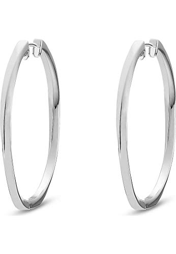 JETTE Silver Damen-Creole TWISTED 925er Silber rhodiniert One Size, silber