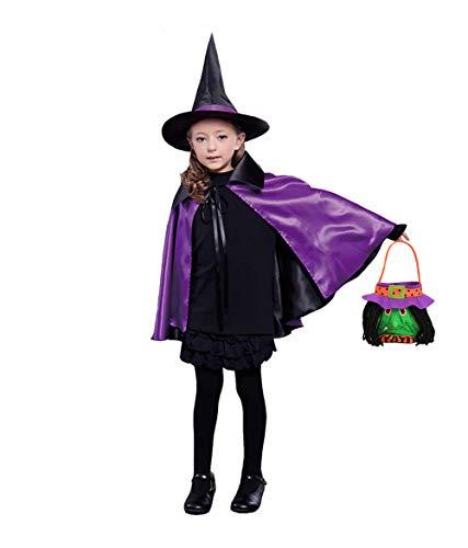 (Shmily Girl Umhang mit Kapuze Hexenmantel schwarzer Karneval / Halloween-Kostüm (Kid, Hut+Umhang+Süßigkeitstasche-Set Violett))