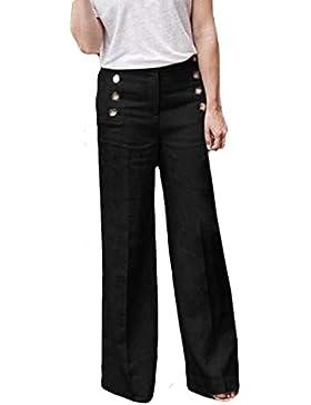 ❤️ Pantalones de Mujer Moda,Pantalones Anchos elásticos Ocasionales Sueltos de la Cintura del botón elástico Absolute