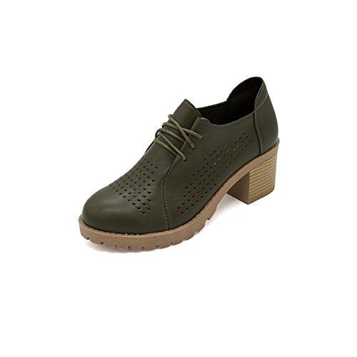 Respirant Joker chaussures de printemps/British wind creux talon épais/Chaussures basses tête rondes C