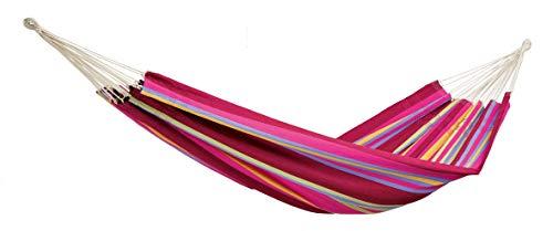 AMAZONAS Klassische Hängematte XL Barbados Grenadine handgefertigt in Brasilien 230 cm x 150 cm für 1-2 Personen bis 200 kg in Buntgestreift