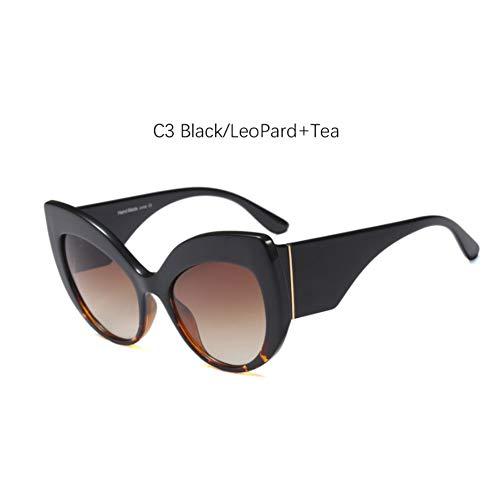 Taiyangcheng Frauen Cat Eye Sunglasses Oversize Shades für Frauen Feminino Sonnenbrillen,C3 Schwarzer Leopardtee