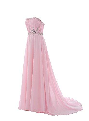 YiYaDawn Langes Prinzessin Brautjungfernkleid Abendkleid mit Schleppe für Damen Rosa
