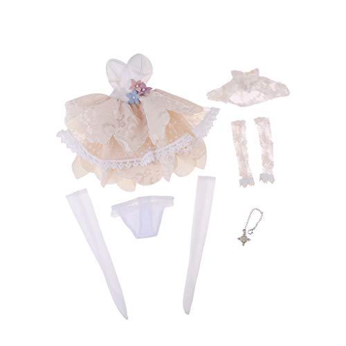 Baoblaze Party Kleid Trägerlosen Tops Kopfbedeckungen Für 1/4 Bjd Puppe Outfit - Beige (Smart Doll)