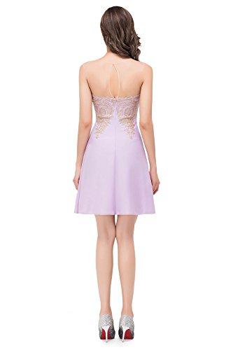 Babyonlinedress Damen Elegant Kurz Abendkleid Applique Herz-Ausschnitt Rückenfrei Cocktailkleid in 12 Farben Weinrot