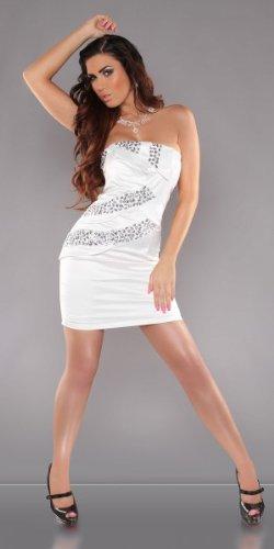 Party Cocktail-Kleid mit Steinen besetzt Weiß