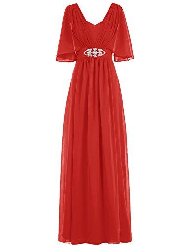 Bbonlinedress Robe de mère de la mariée forme empire avec manches longueur ras du sol Rouge