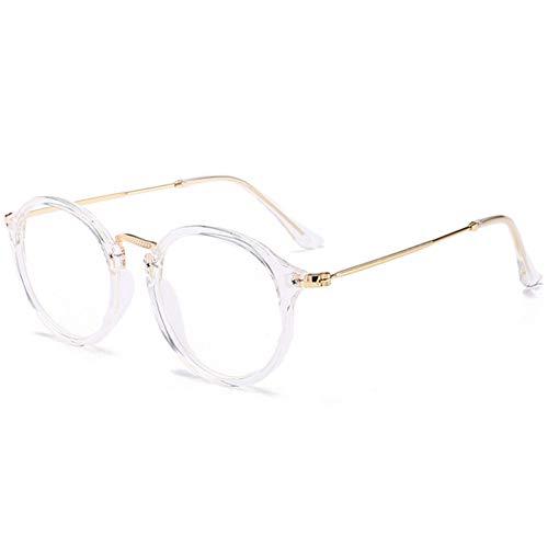 YUNCAT Retro redondo gafas Claro Anteojos Transparentes - Redondo Ultrafino Marco de Metal Gafas de Lectura Decoración Retro Gafas Para Hombres Mujeres