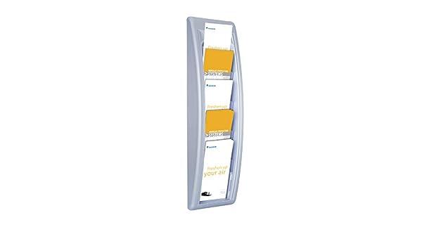 Paperflow Pr/ésentoir mural couleur aluminium Quick Fit System 5 cases Format 1//3 de A4