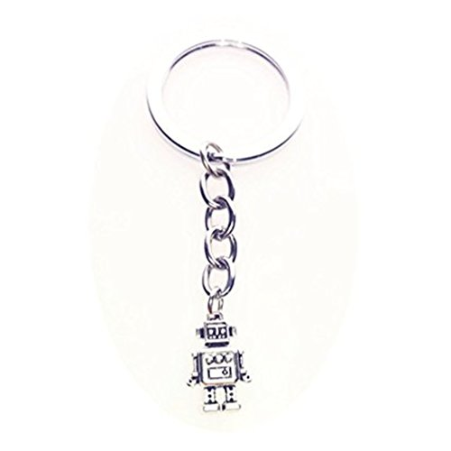 Roboter, Roboter Schlüsselanhänger Key Ring, Persönlichen Schlüsselanhänger, Silber oder Messing Schlüsselanhänger (Silber)