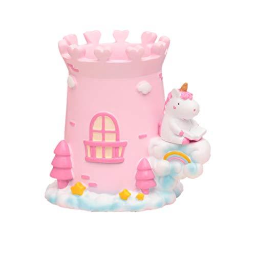 Toyvian sostenedor de la pluma del unicornio lindo unicornio caja de almacenamiento papelería contenedores soporte de escritorio para artículos varios sala de estudio artesanal