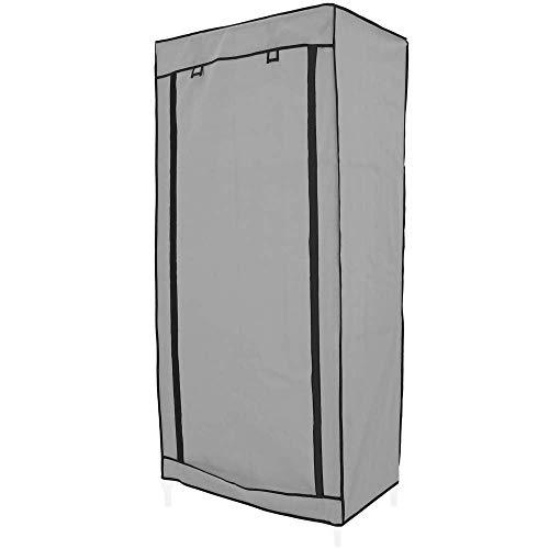 PrimeMatik - Armario ropero guardarropa de Tela Desmontable 70 x 45 x 155 cm Gris con Puerta Enrollable
