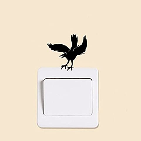 Flying Crow Raven Creative Switch Sticker Vinyl Removable Wall Stickers