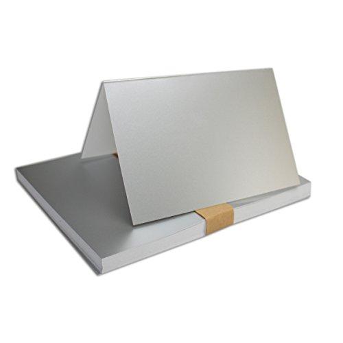 DIN A6 Faltkarten Doppelkarten hochdoppelt Silber Metallic 25 Stück Einladungskarten 105 x 148 mm formstabil NEUSER FarbenFroh
