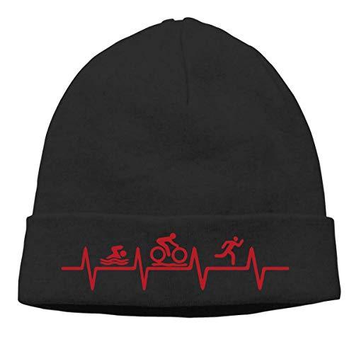 hgdfhfgd Keep warm Woolen Cap for Mens and Womens, Triathlon Heartbeat1-2 Stocking Cap Keep warm 19039