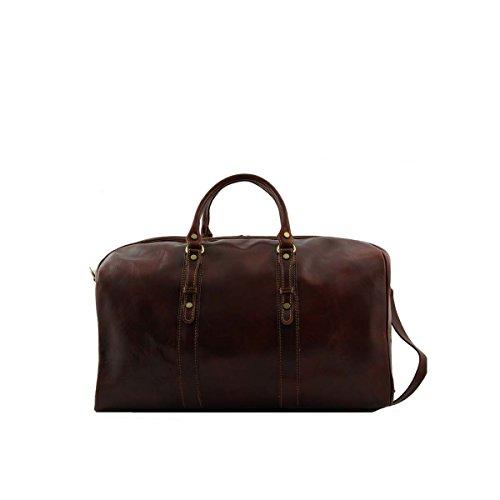 Tuscany Leather - Francoforte - Borsa da viaggio in pelle - Misura grande Marrone - FC140860/1 Testa di Moro