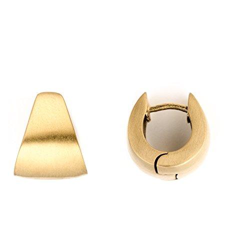 Heideman Creolen Damen Tria aus Edelstahl gold farbend matt Ohrstecker Kreole für Frauen mit Clip Mechanik schlichter Edelstahlschmuck Ohrschmuck