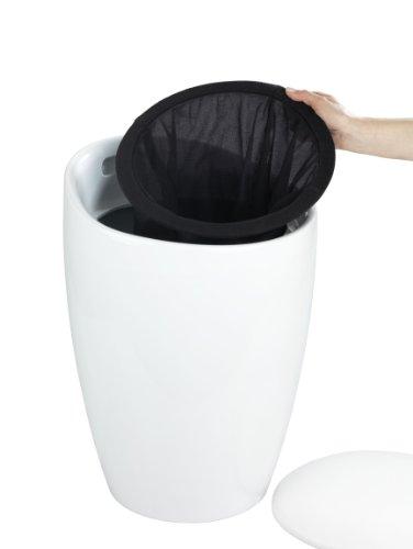 Wenko Hocker Candy White I Weißer Badhocker aus Kunststoff mit abnehmbarem Wäschesack aus 100% Polyester, Ø: 36 cm x H: 50,5 cm - 5