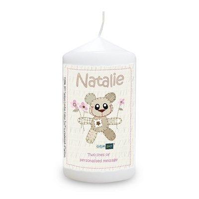 Algodón Zoo rosa Tweed oso de peluche vela, cualquier que pudo, For Her, de regalo con mensaje personalizado
