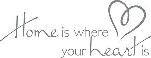 GRAZDesign Wandtattoo Home is Where Your Heart is - Büro Einrichten mit Wandtattoo Besonderes Geschenk - Dekoration Wohnung modern Home Wohnideen / 79x30cm / 720398_30_074