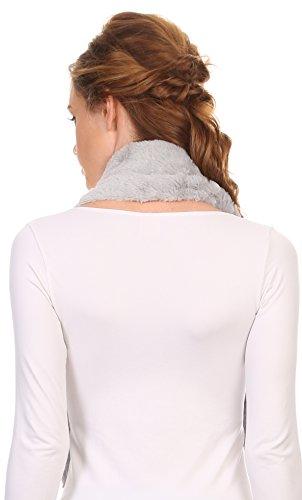 Sakkas Sabby long Thin Faux Fur perle Embellissement chaud Echarpe Infinity souple Gris
